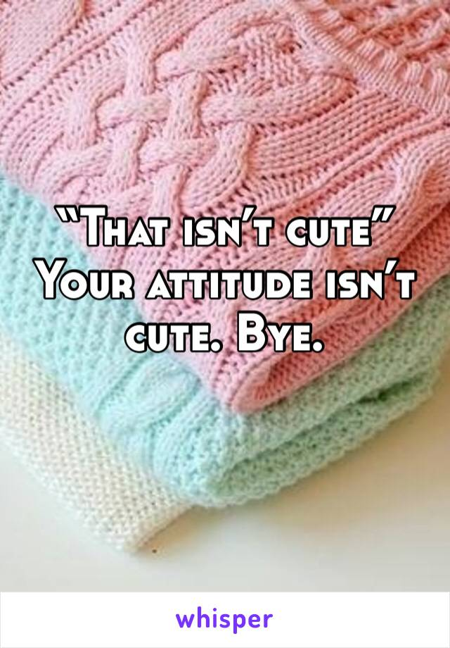 """That isn't cute"" Your attitude isn't cute. Bye."