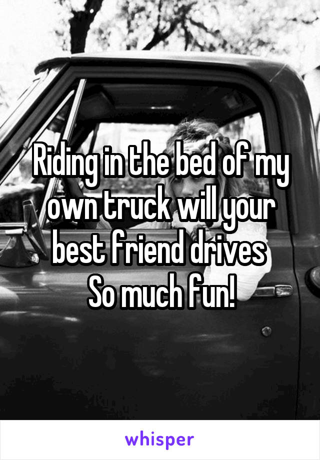 Riding in the bed of my own truck will your best friend drives  So much fun!