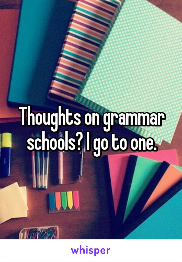 Thoughts on grammar schools? I go to one.