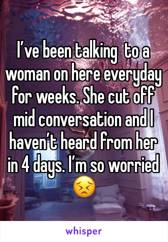 I've been talking  to a woman on here everyday for weeks. She cut off mid conversation and I haven't heard from her in 4 days. I'm so worried 😣