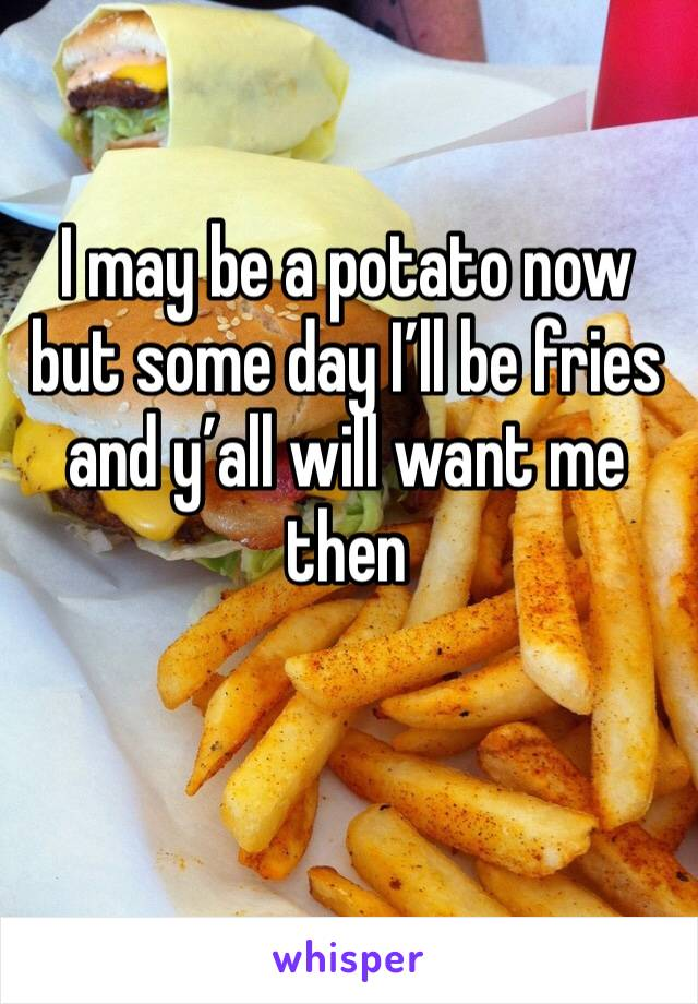 I may be a potato now but some day I'll be fries and y'all will want me then