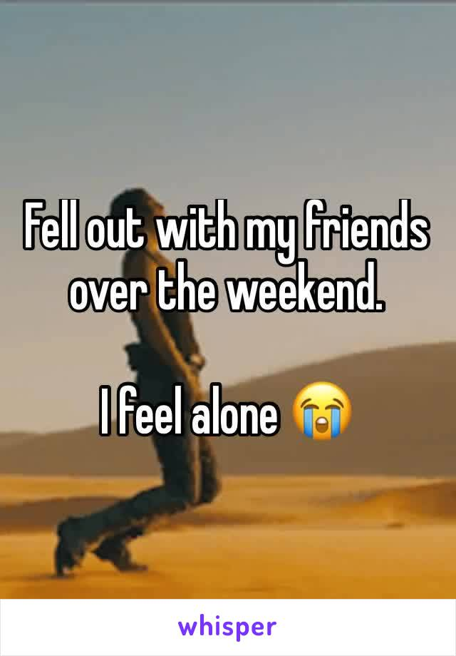 Fell out with my friends over the weekend.  I feel alone 😭