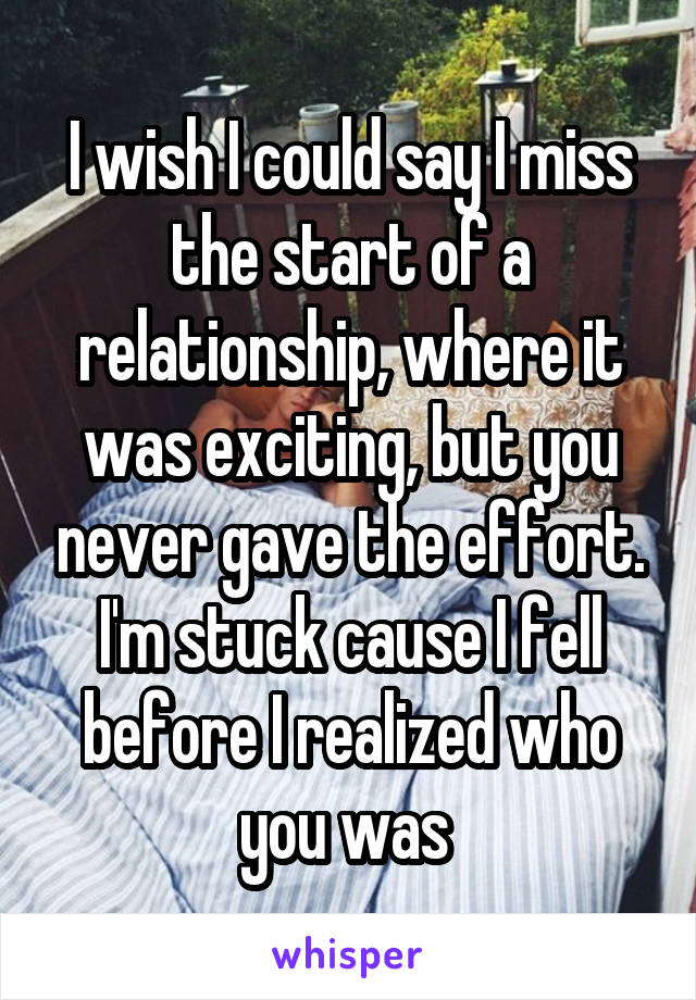 I wish I could say I miss the start of a relationship, where it was exciting, but you never gave the effort. I'm stuck cause I fell before I realized who you was