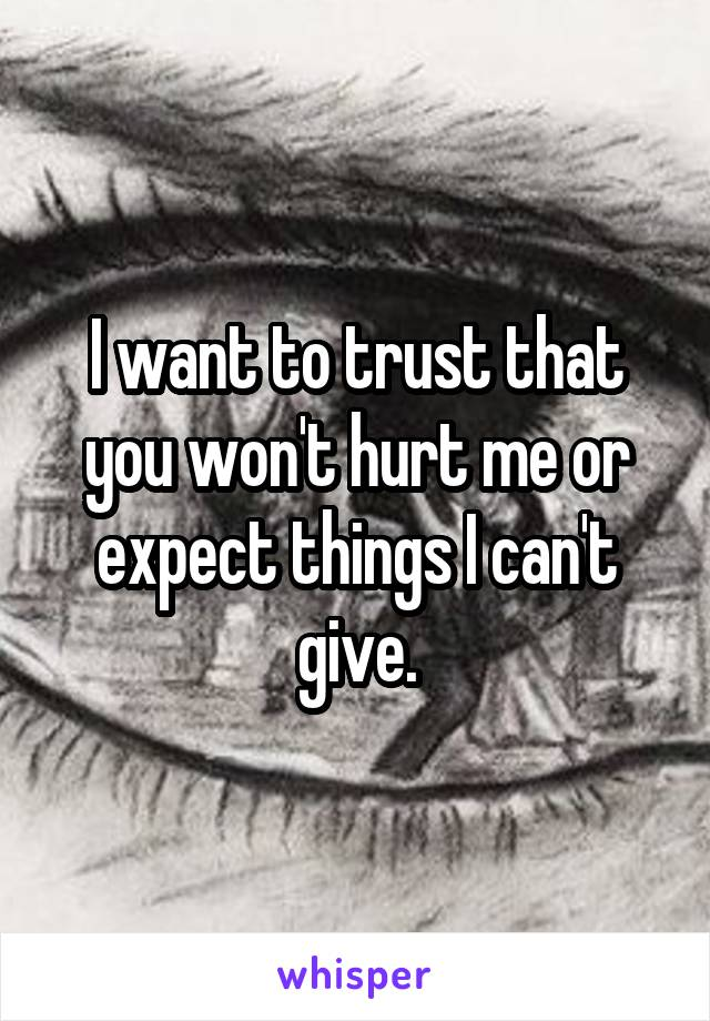 I want to trust that you won't hurt me or expect things I can't give.
