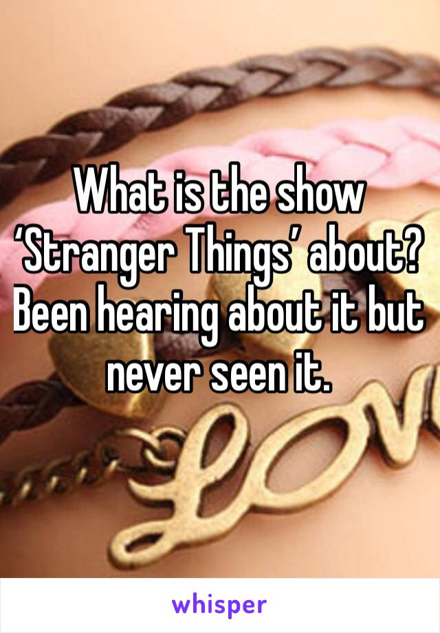 What is the show 'Stranger Things' about? Been hearing about it but never seen it.