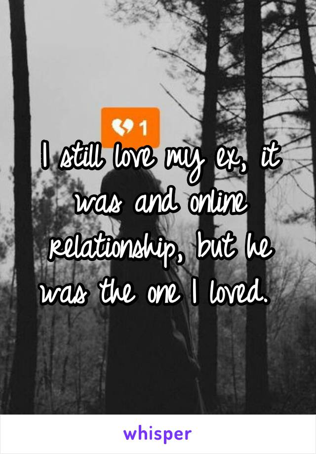 I still love my ex, it was and online relationship, but he was the one I loved.