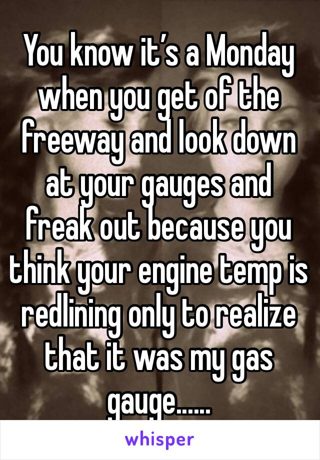 You know it's a Monday when you get of the freeway and look down at your gauges and freak out because you think your engine temp is redlining only to realize that it was my gas gauge......