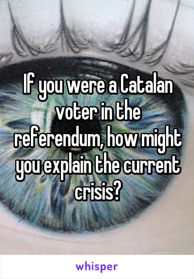 If you were a Catalan voter in the referendum, how might you explain the current crisis?