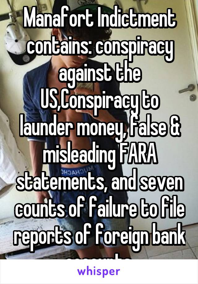 Manafort Indictment contains: conspiracy against the US,Conspiracy to launder money, false & misleading FARA statements, and seven counts of failure to file reports of foreign bank accounts.