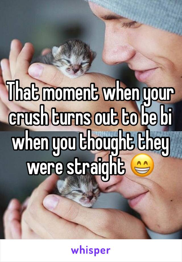 That moment when your crush turns out to be bi when you thought they were straight 😁