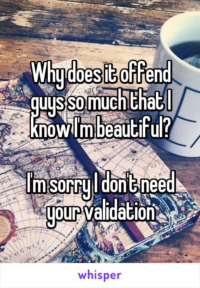 Why does it offend guys so much that I know I'm beautiful?  I'm sorry I don't need your validation