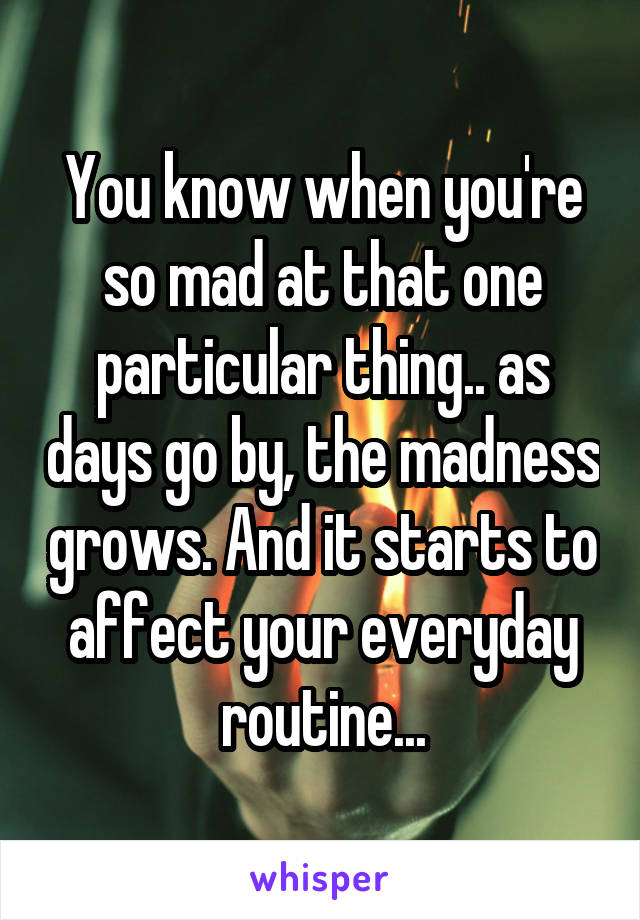 You know when you're so mad at that one particular thing.. as days go by, the madness grows. And it starts to affect your everyday routine...