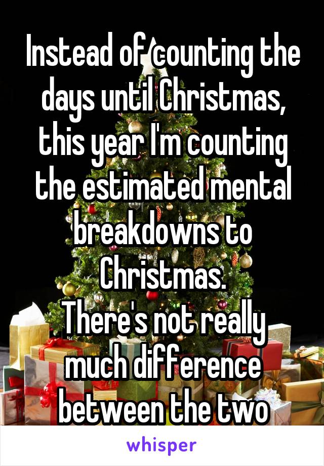 Instead of counting the days until Christmas, this year I'm counting the estimated mental breakdowns to Christmas. There's not really much difference between the two