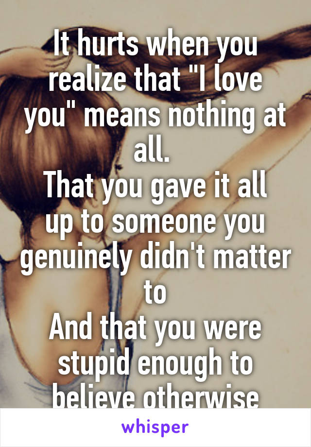 """It hurts when you realize that """"I love you"""" means nothing at all.  That you gave it all up to someone you genuinely didn't matter to And that you were stupid enough to believe otherwise"""