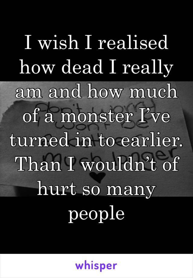 I wish I realised how dead I really am and how much of a monster I've turned in to earlier. Than I wouldn't of hurt so many people