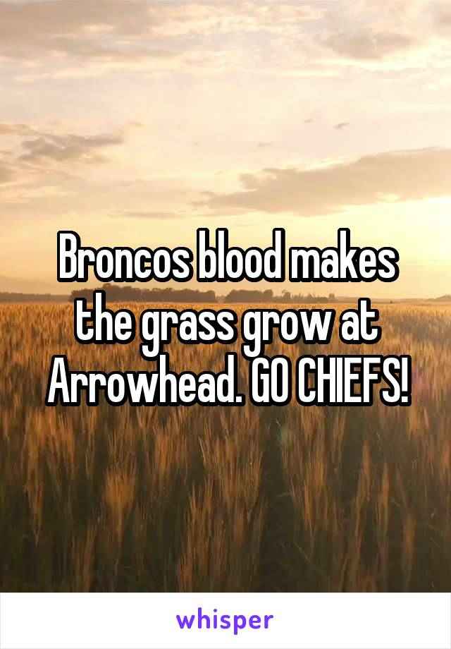 Broncos blood makes the grass grow at Arrowhead. GO CHIEFS!