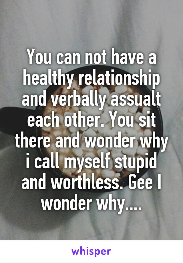 You can not have a healthy relationship and verbally assualt each other. You sit there and wonder why i call myself stupid and worthless. Gee I wonder why....