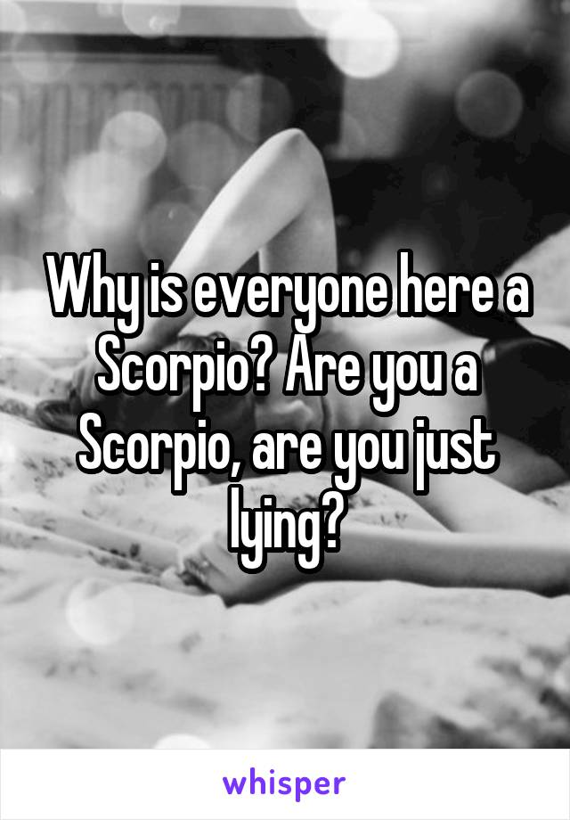 Why is everyone here a Scorpio? Are you a Scorpio, are you just lying?