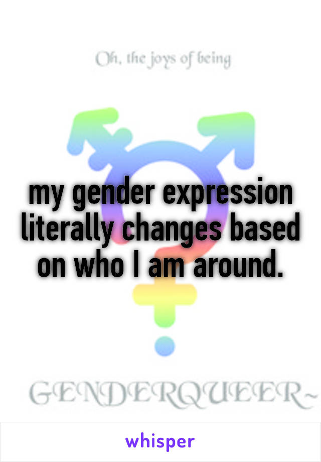 my gender expression literally changes based on who I am around.