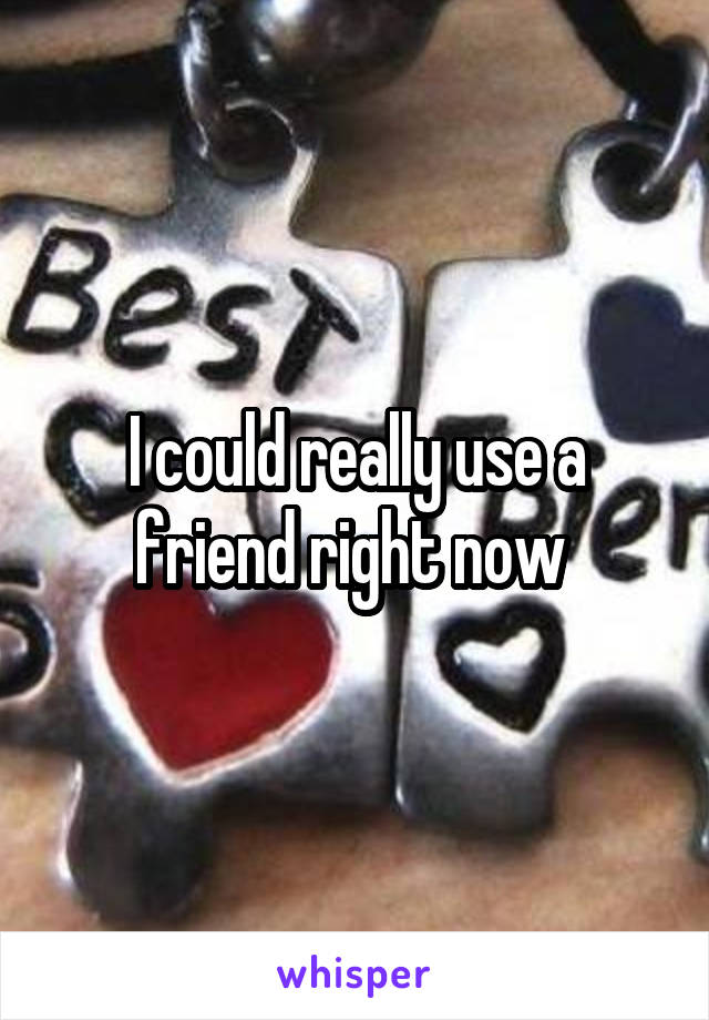 I could really use a friend right now