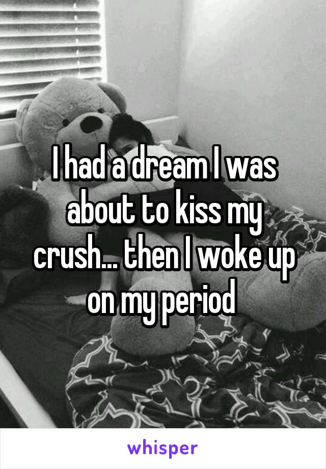 I had a dream I was about to kiss my crush... then I woke up on my period