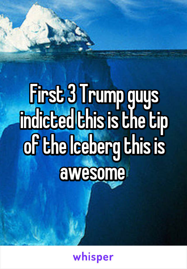 First 3 Trump guys indicted this is the tip of the Iceberg this is awesome