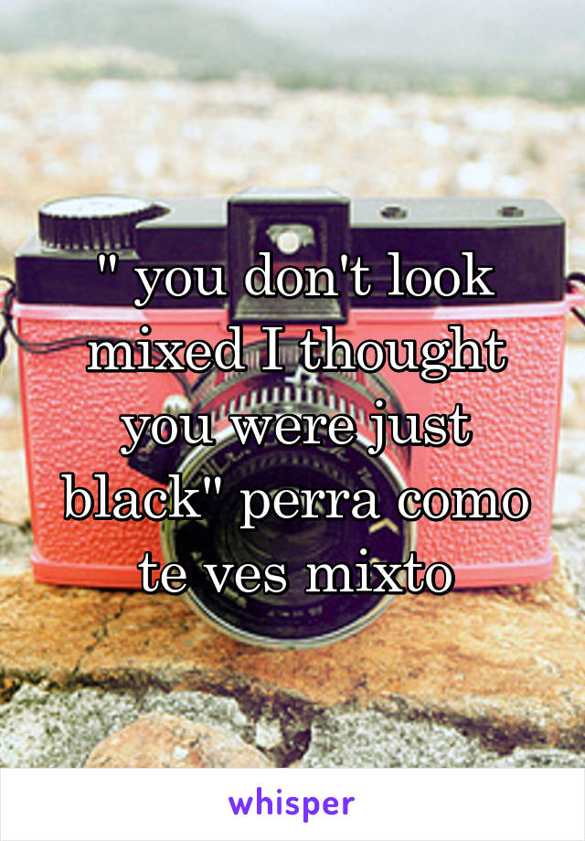 """"""" you don't look mixed I thought you were just black"""" perra como te ves mixto"""