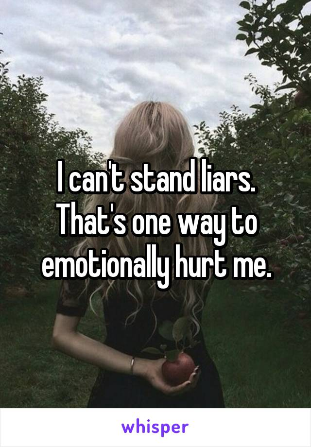 I can't stand liars. That's one way to emotionally hurt me.