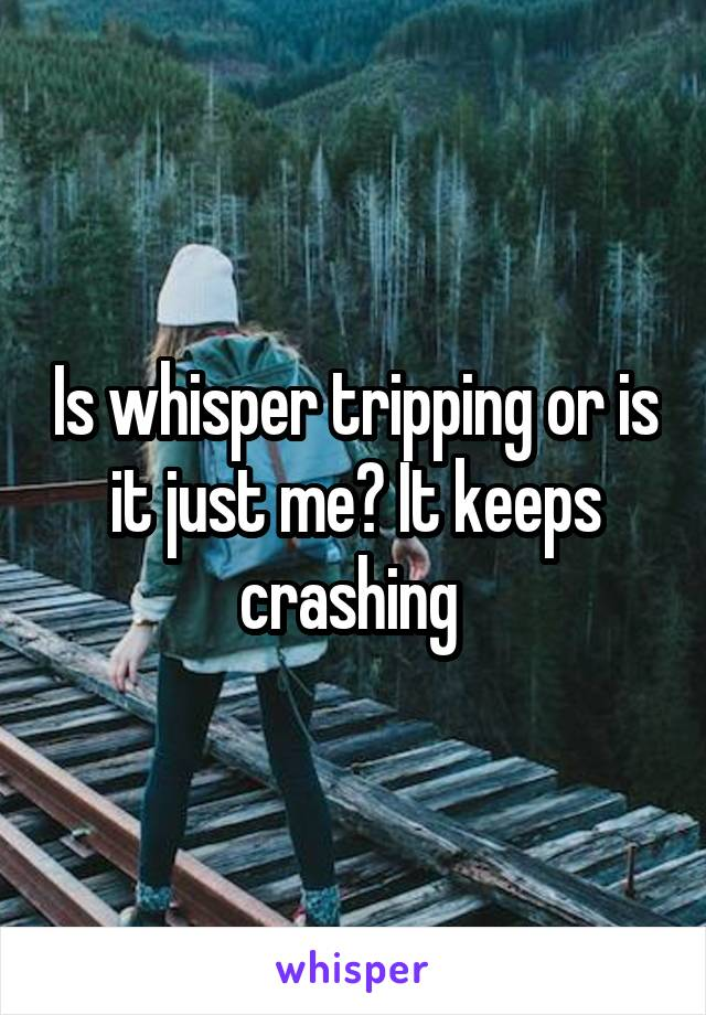 Is whisper tripping or is it just me? It keeps crashing