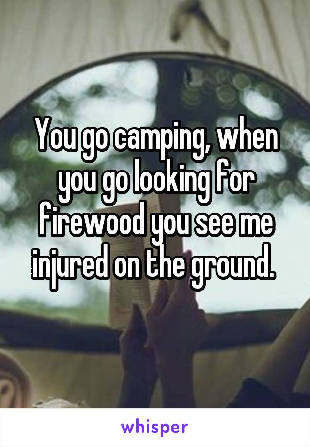 You go camping, when you go looking for firewood you see me injured on the ground.