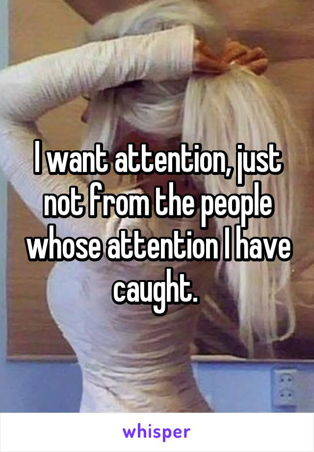 I want attention, just not from the people whose attention I have caught.