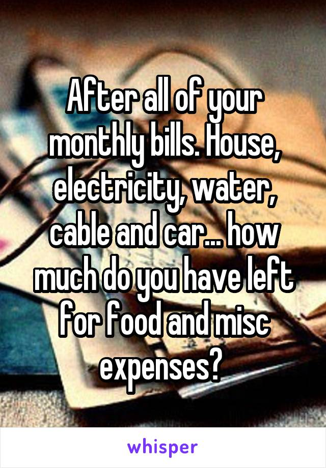 After all of your monthly bills. House, electricity, water, cable and car... how much do you have left for food and misc expenses?