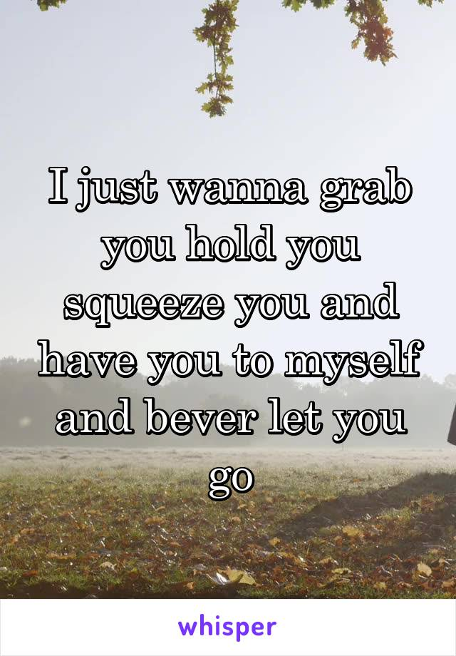 I just wanna grab you hold you squeeze you and have you to myself and bever let you go