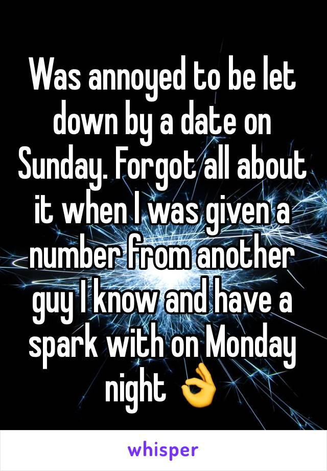 Was annoyed to be let down by a date on Sunday. Forgot all about it when I was given a number from another guy I know and have a spark with on Monday night 👌