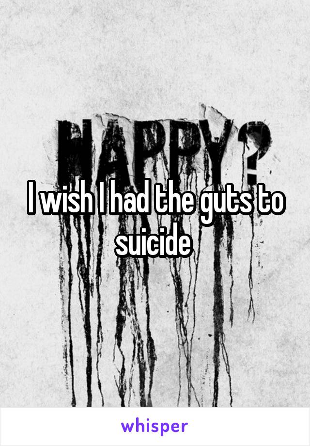 I wish I had the guts to suicide