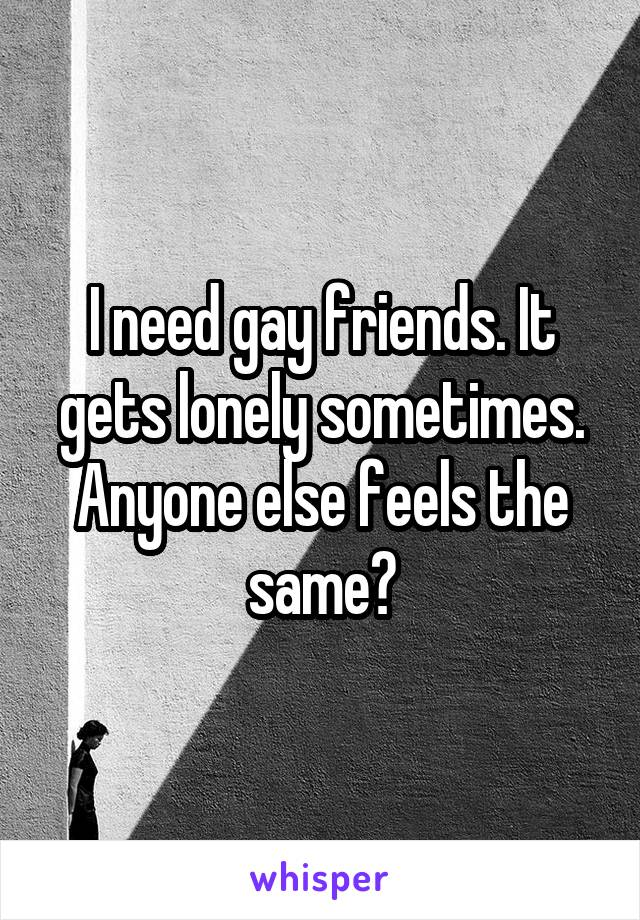 I need gay friends. It gets lonely sometimes. Anyone else feels the same?