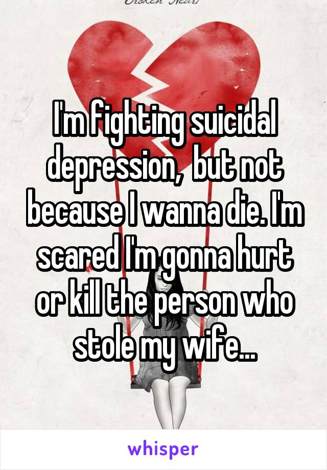 I'm fighting suicidal depression,  but not because I wanna die. I'm scared I'm gonna hurt or kill the person who stole my wife...