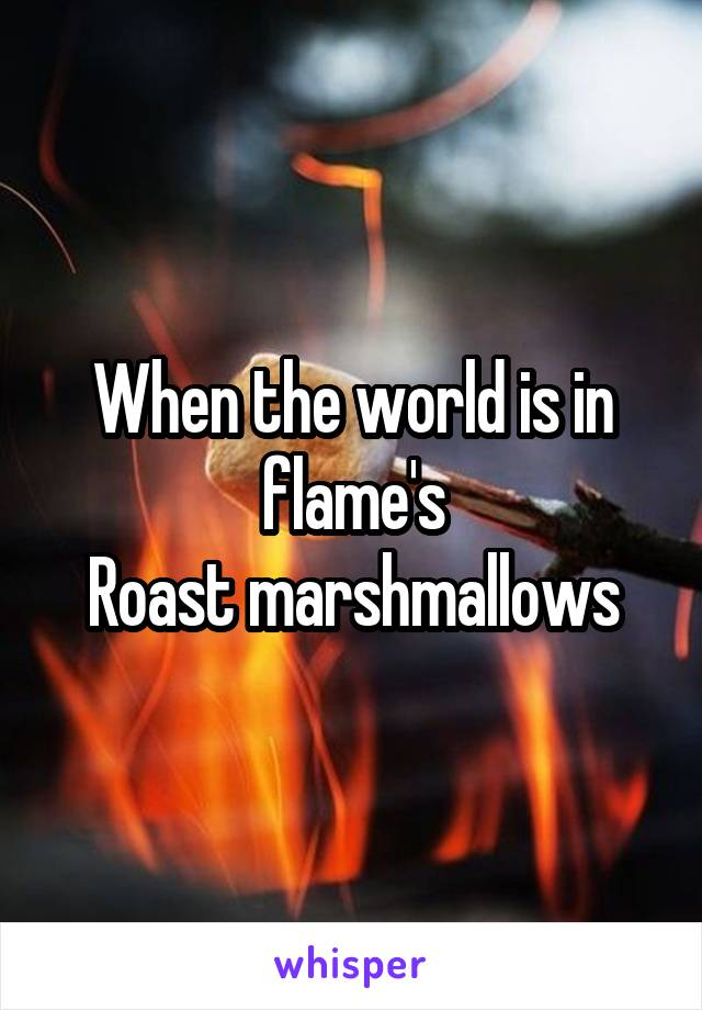 When the world is in flame's Roast marshmallows