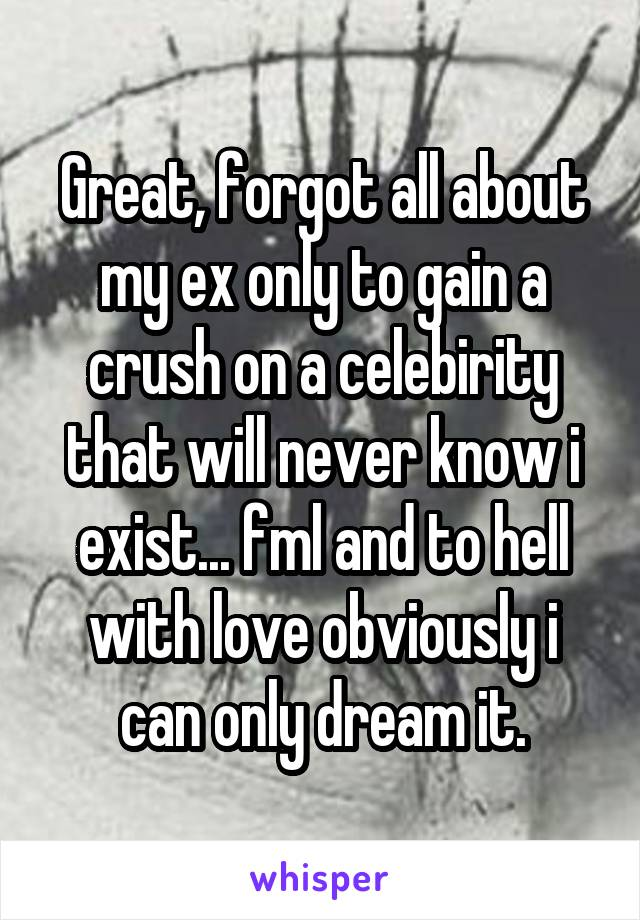 Great, forgot all about my ex only to gain a crush on a celebirity that will never know i exist... fml and to hell with love obviously i can only dream it.