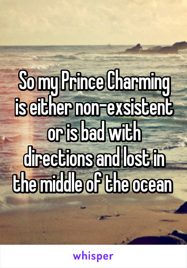 So my Prince Charming is either non-exsistent or is bad with directions and lost in the middle of the ocean