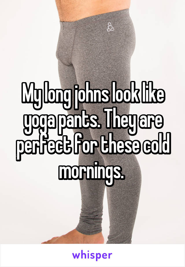My long johns look like yoga pants. They are perfect for these cold mornings.