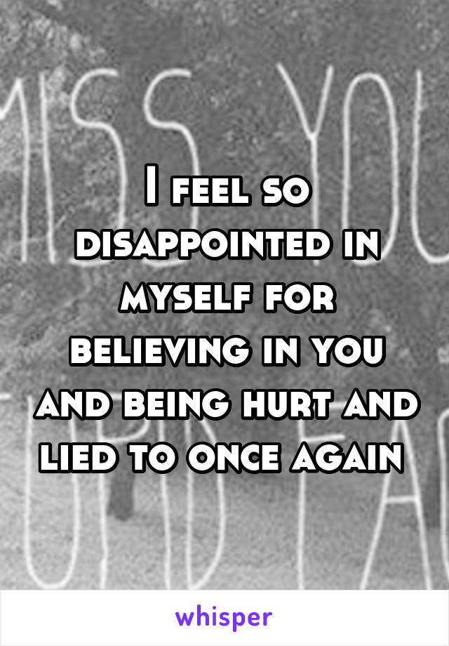 I feel so disappointed in myself for believing in you and being hurt and lied to once again
