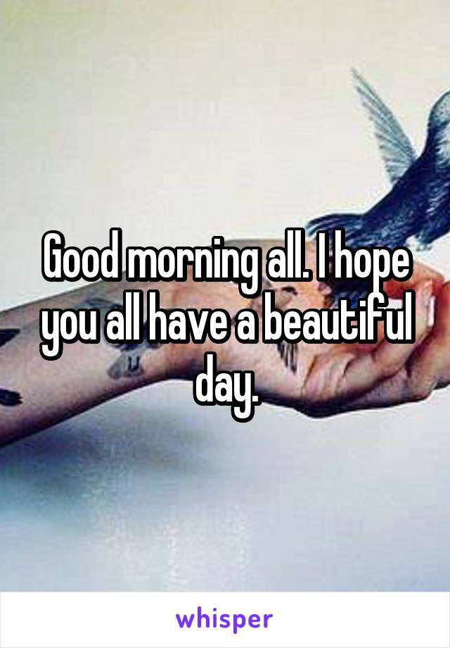 Good morning all. I hope you all have a beautiful day.