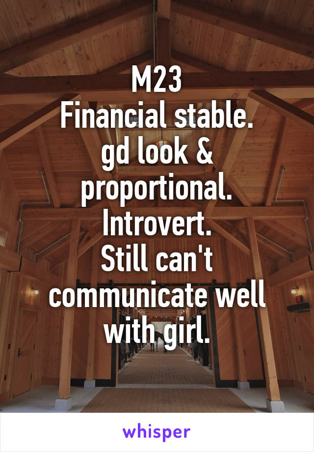 M23 Financial stable. gd look & proportional. Introvert. Still can't communicate well with girl.