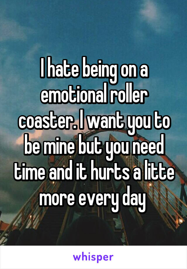 I hate being on a emotional roller coaster. I want you to be mine but you need time and it hurts a litte more every day
