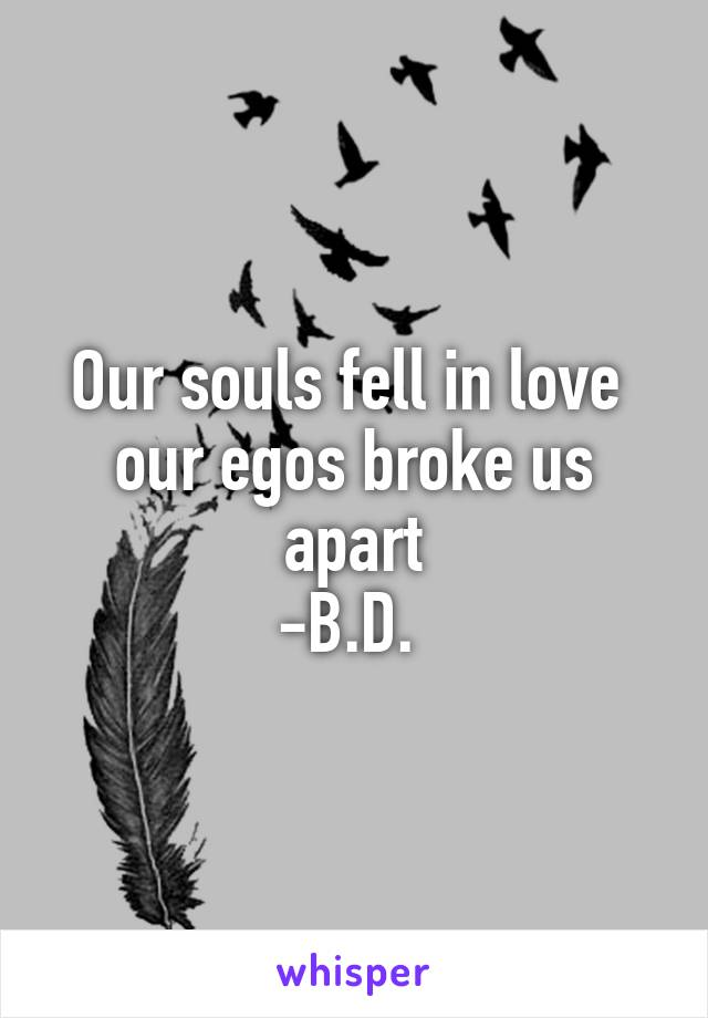 Our souls fell in love  our egos broke us apart -B.D.