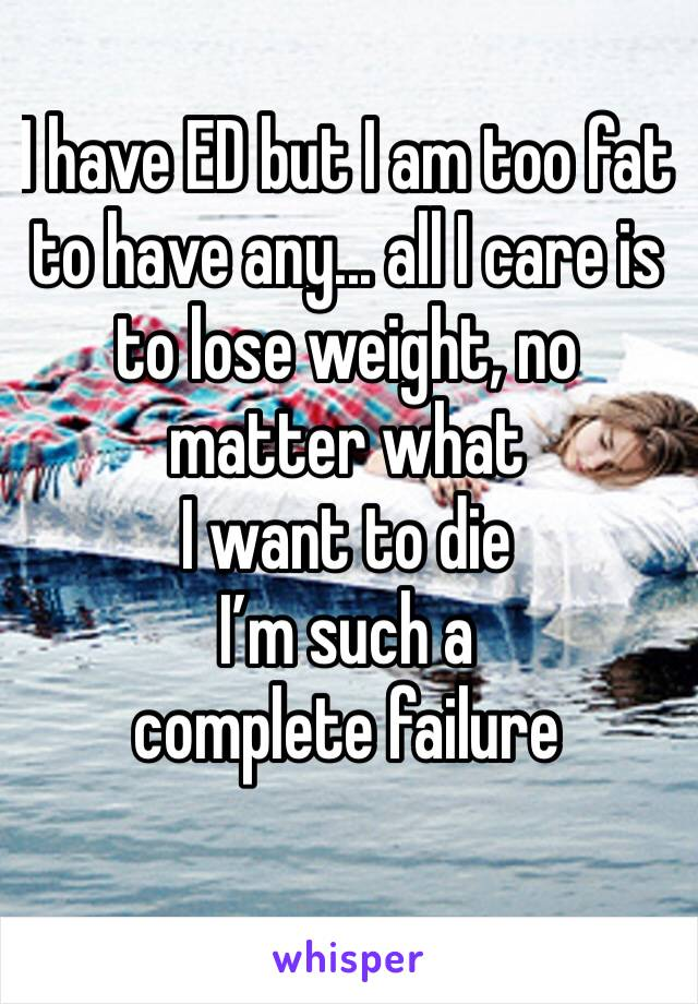 I have ED but I am too fat to have any... all I care is to lose weight, no matter what  I want to die  I'm such a complete failure