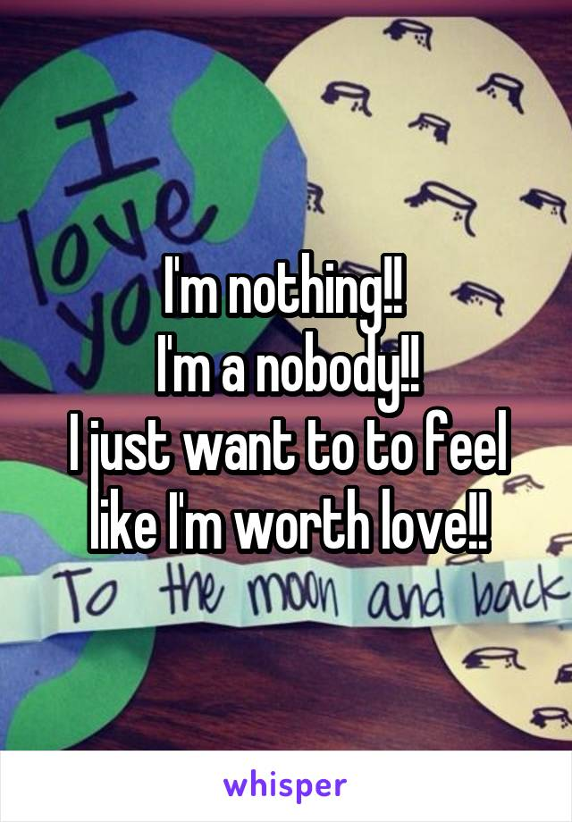 I'm nothing!!  I'm a nobody!! I just want to to feel like I'm worth love!!