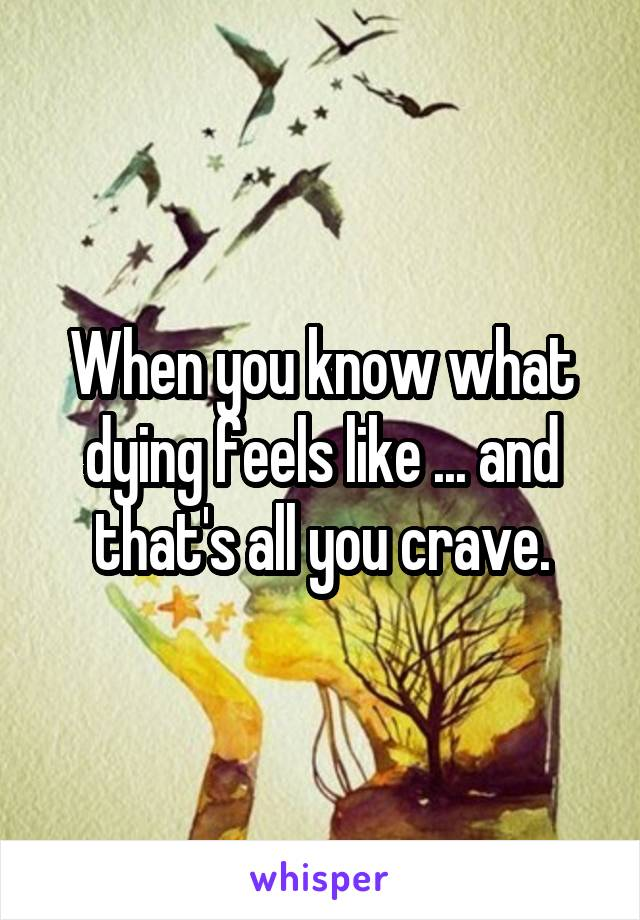 When you know what dying feels like ... and that's all you crave.