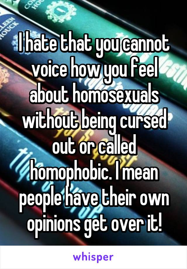I hate that you cannot voice how you feel about homosexuals without being cursed out or called homophobic. I mean people have their own opinions get over it!
